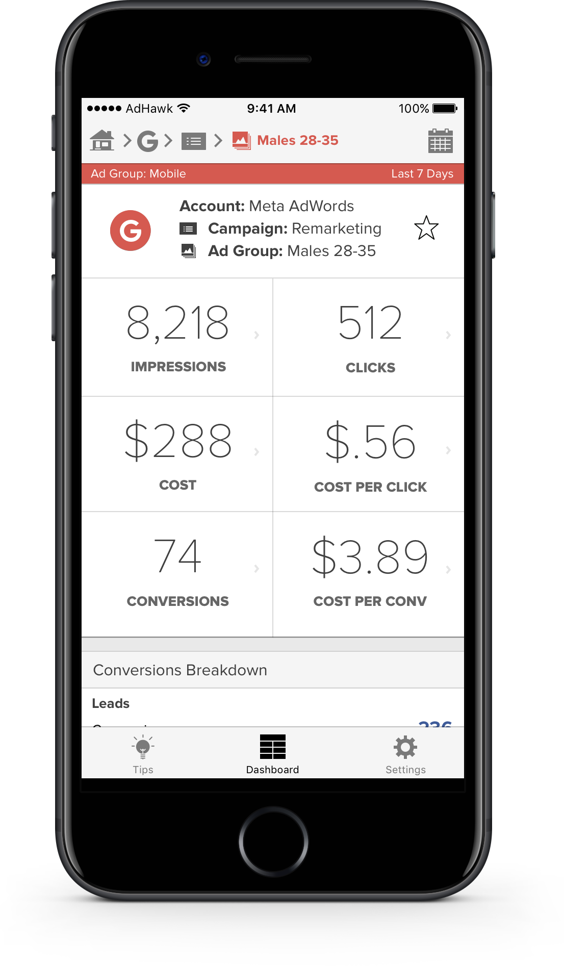 A look at Meta's AdWords account on the AdHawk iOS app